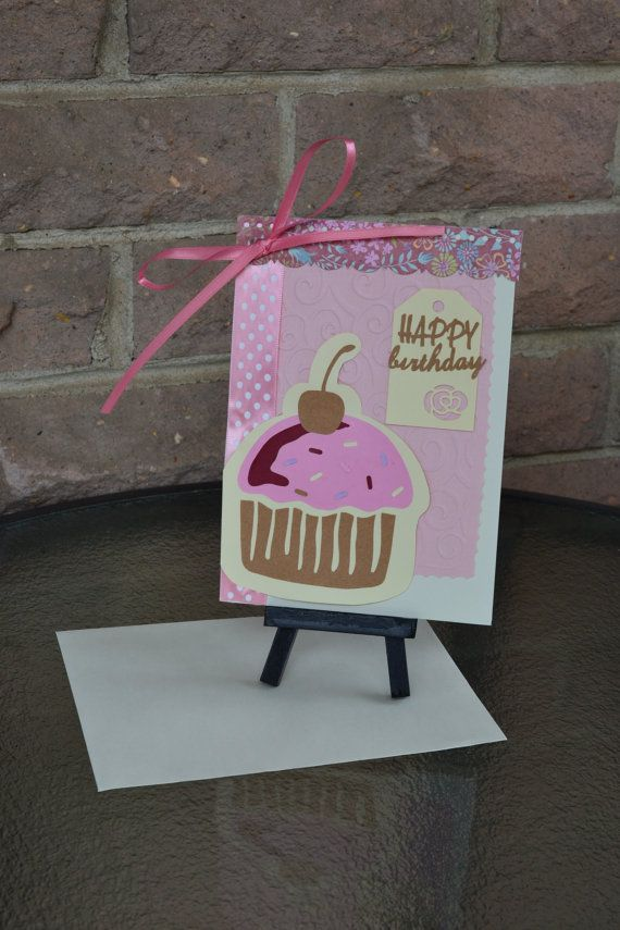 5 X 7 Cupcake Birthday Card hand made pink by TheWriteImpressions