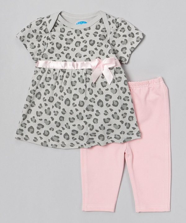 Another great find on #zulily! Gray Leopard Bow Tunic & Pink Leggings by bon bébé #zulilyfinds