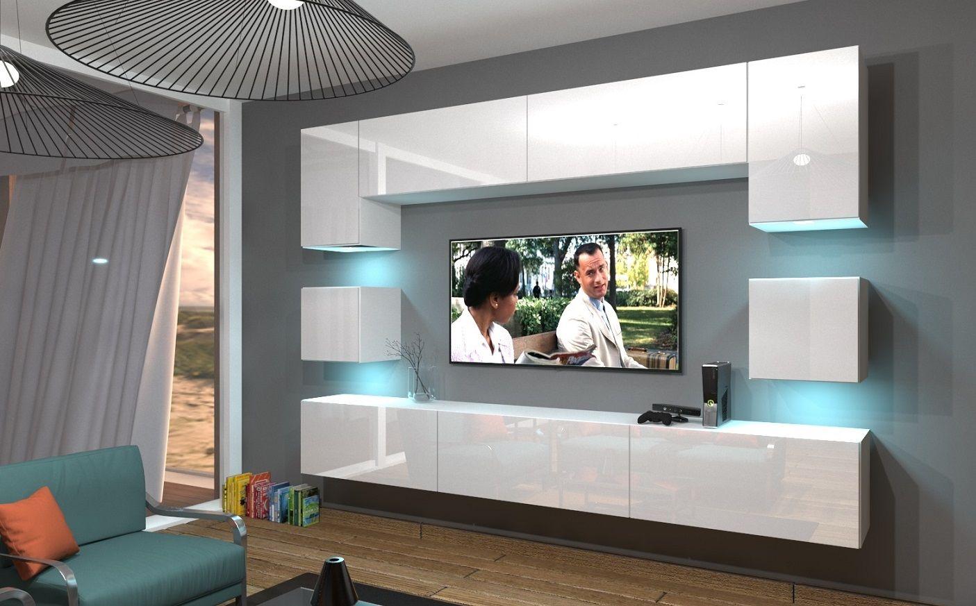 Wohnwand An1 242 Hochglanz Push To Open Funktion Wohnzimmer Modern Schrankwand Weiss Wohnen