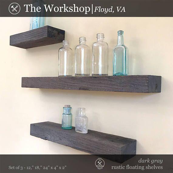 Set Of 3 Rustic Floating Shelf Dark Gray Weathered Roughsawn Oak Reclaimed Wood Barn