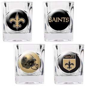 New Orleans Saints 4 Piece NFL Collector's Shot Glass Set
