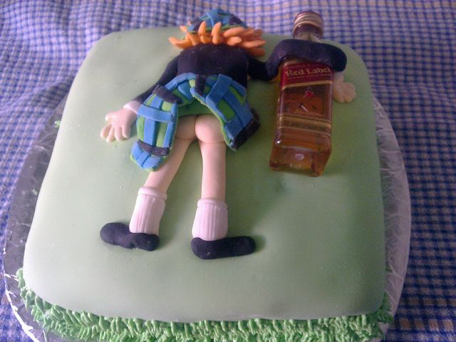Scottish Man Face Down Drunk Bum Scotch Cake I Did Birthday