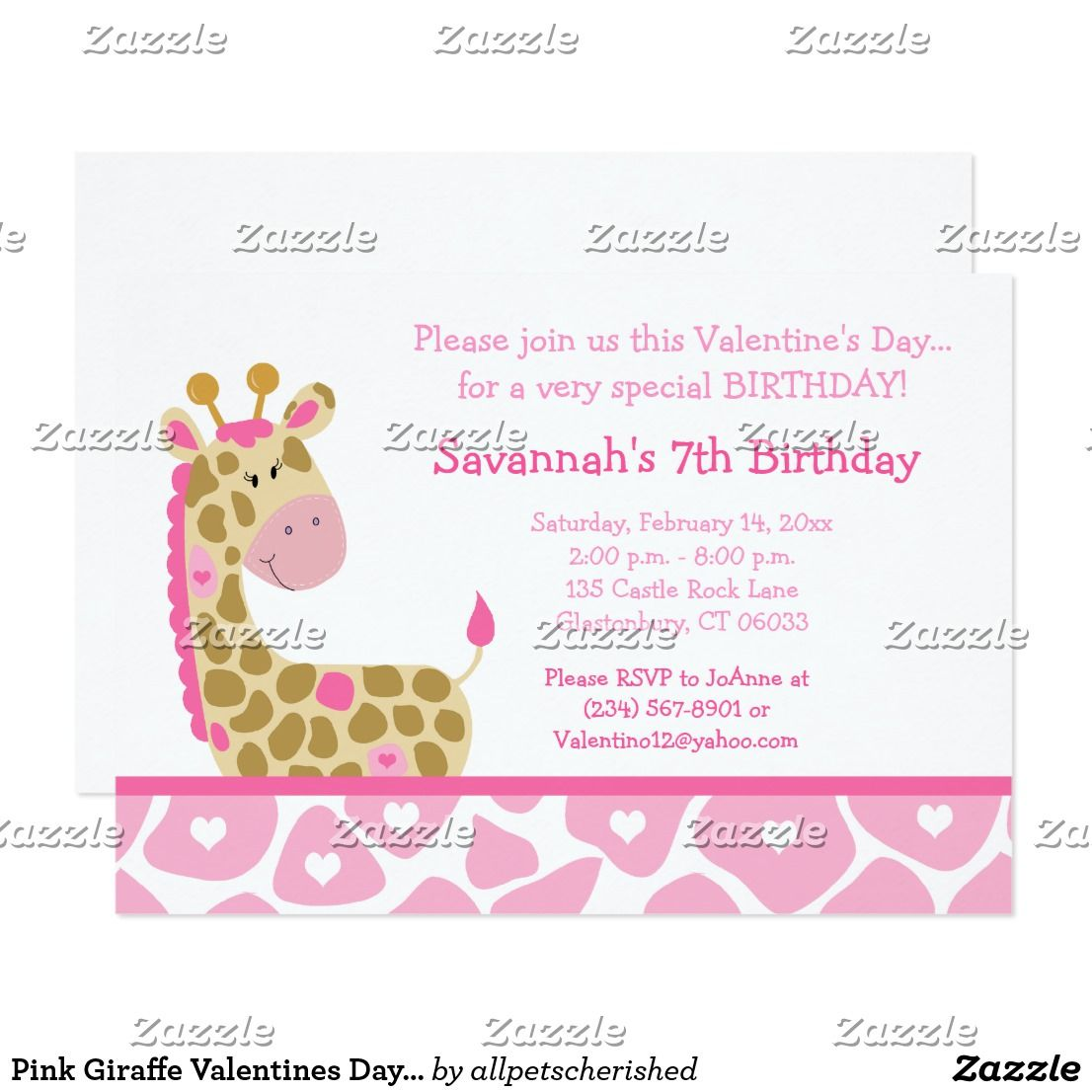 Pink Giraffe Valentines Day Birthday Invitation This super cute ...