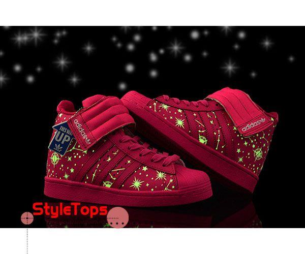 Glow in the dark Adidas Wedge Sneaker Women High Tops Superstar Up Strap  Pink 2015 � Wedge SneakersSneakers ...