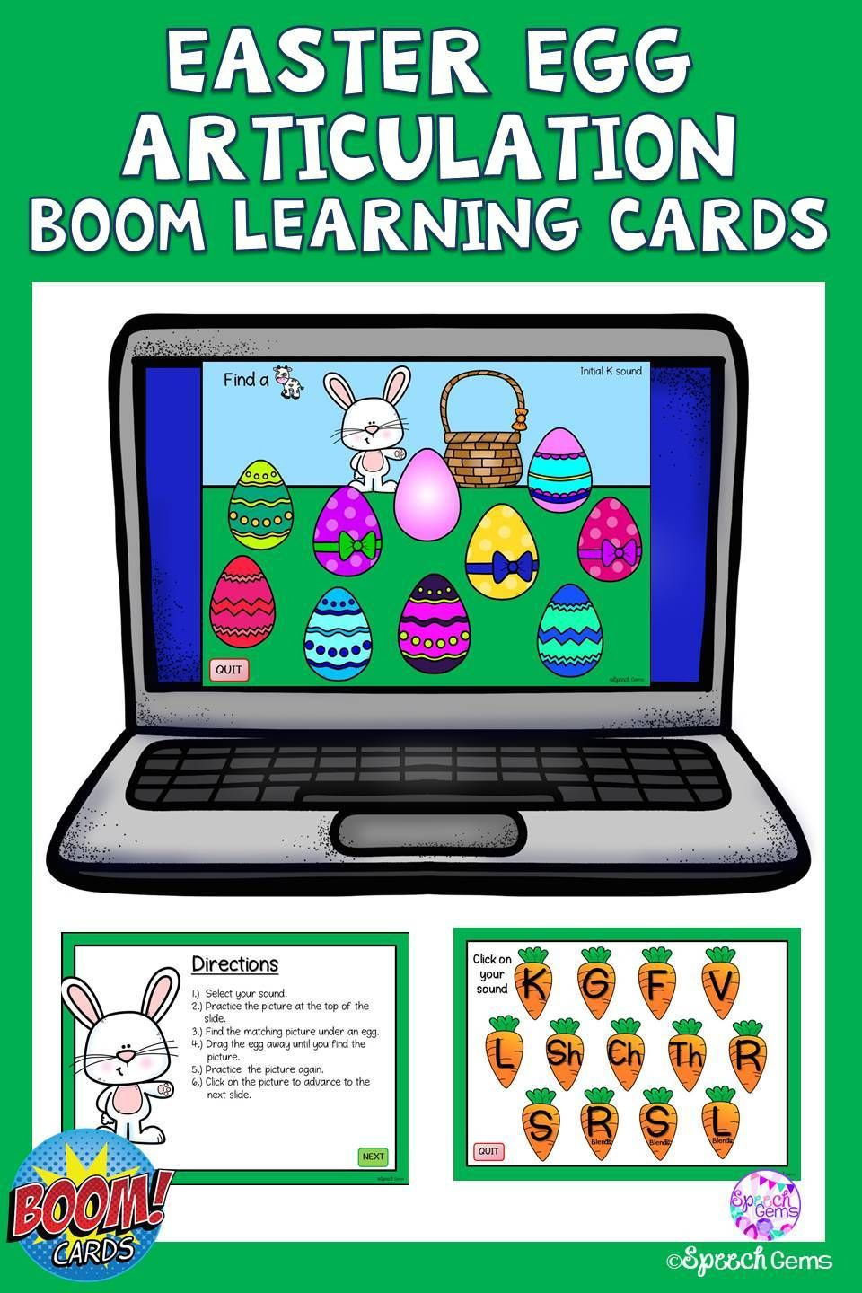 Articulation boom cards easter activity in 2020