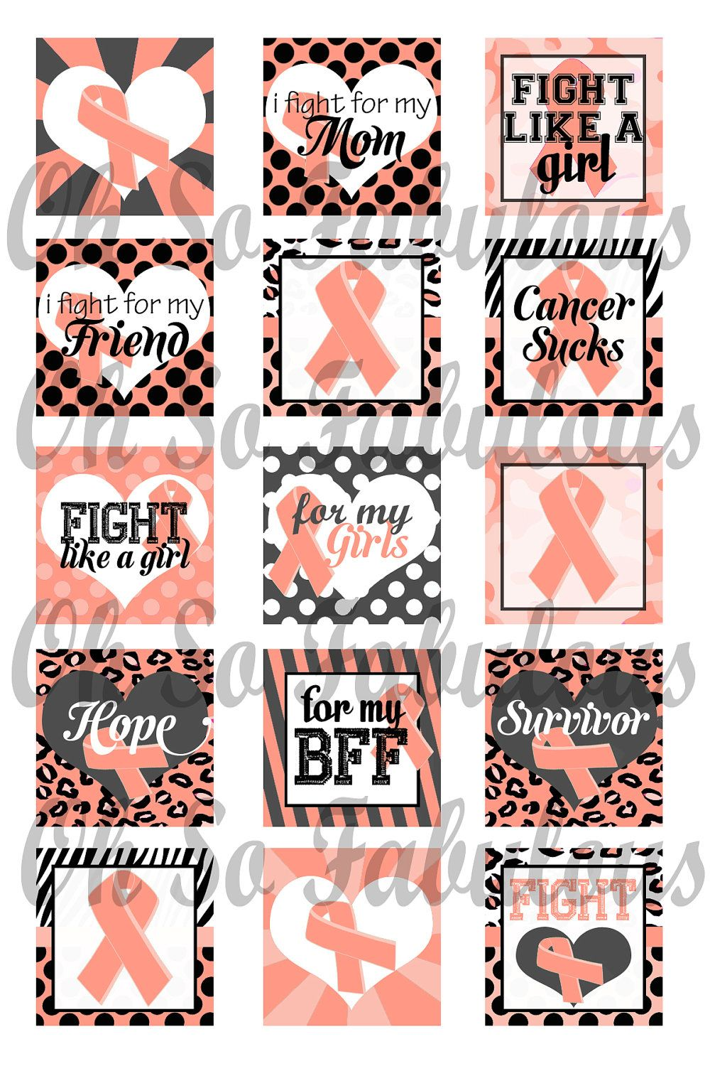 Uterine cancer awareness peach ribbon 1 inch squares images uterine cancer awareness peach ribbon 1 inch squares images digital printable file 4x6 200 buycottarizona