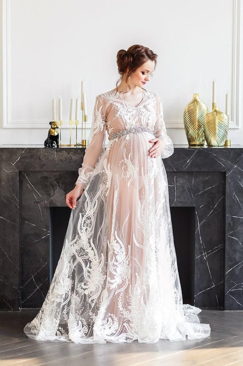 Photo of Royal Maternity Dress for Photo Shoots, Pregnancy Dress Maternity Gown, Lace Photo Prop White Maternity Dress