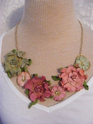 Lovely Textured Paper Flower Necklace Paper Jewelry Paper