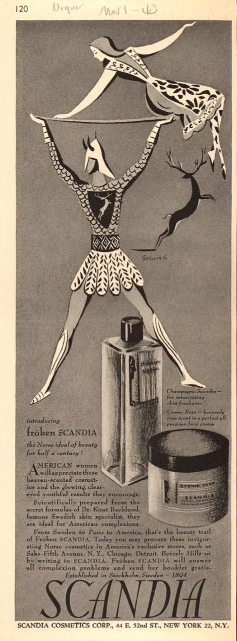 Scandia Cosmetics Corporation's Froken Scandia Ad, 1943
