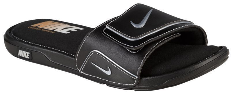 6f1f2c1618322 Nike Men s Comfort Slide 2 Sandals Flex Gooves Flip Flops Leather Black  Silver 9