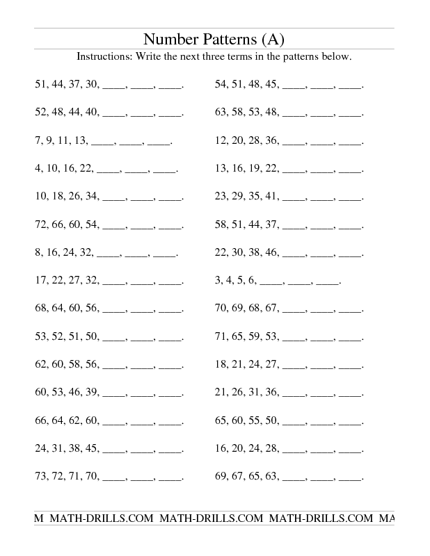 Practice Test Number Patterns – Grade 7 Math Worksheets Algebra