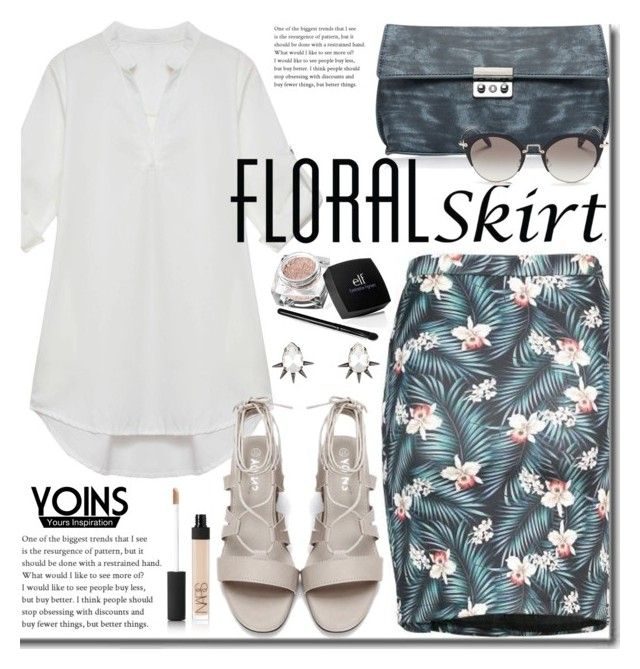"""""""Yoins -  The Perfect Office Floral Skirt"""" by beebeely-look ❤ liked on Polyvore featuring Miu Miu, NARS Cosmetics, Fallon, WorkWear, Floralskirts, summersandals, yoins and yoinscollection"""