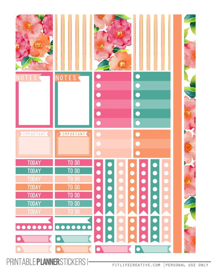 Watercolor flowers happy planner stickers for the the happy planner free planner addicts for Planner pinterest