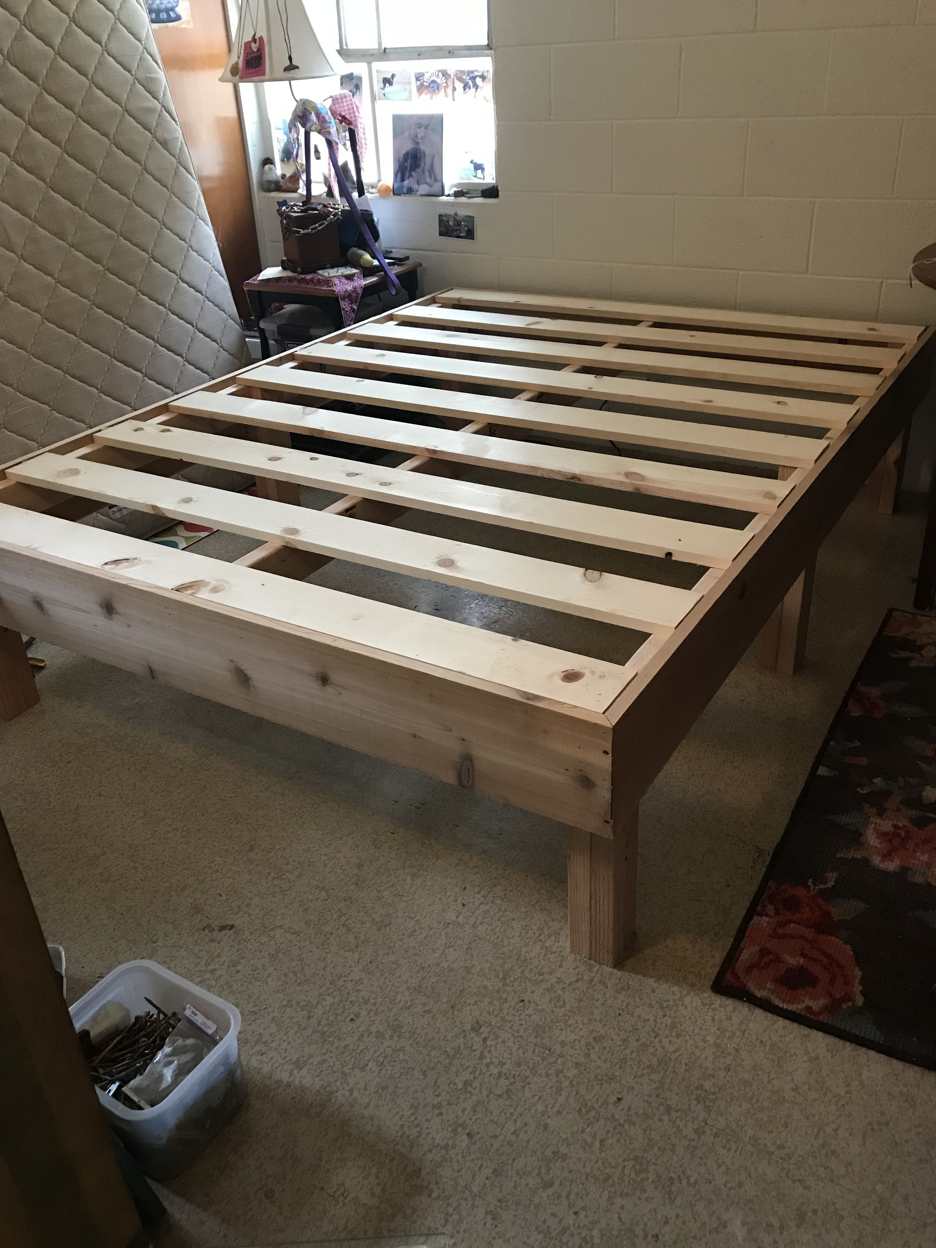 Cedar And Untreated Douglas Fur Queen Size Bed Frame Now Where S That New Mattress Queen Size Bed Frames Coffee Table Pallet Coffee Table