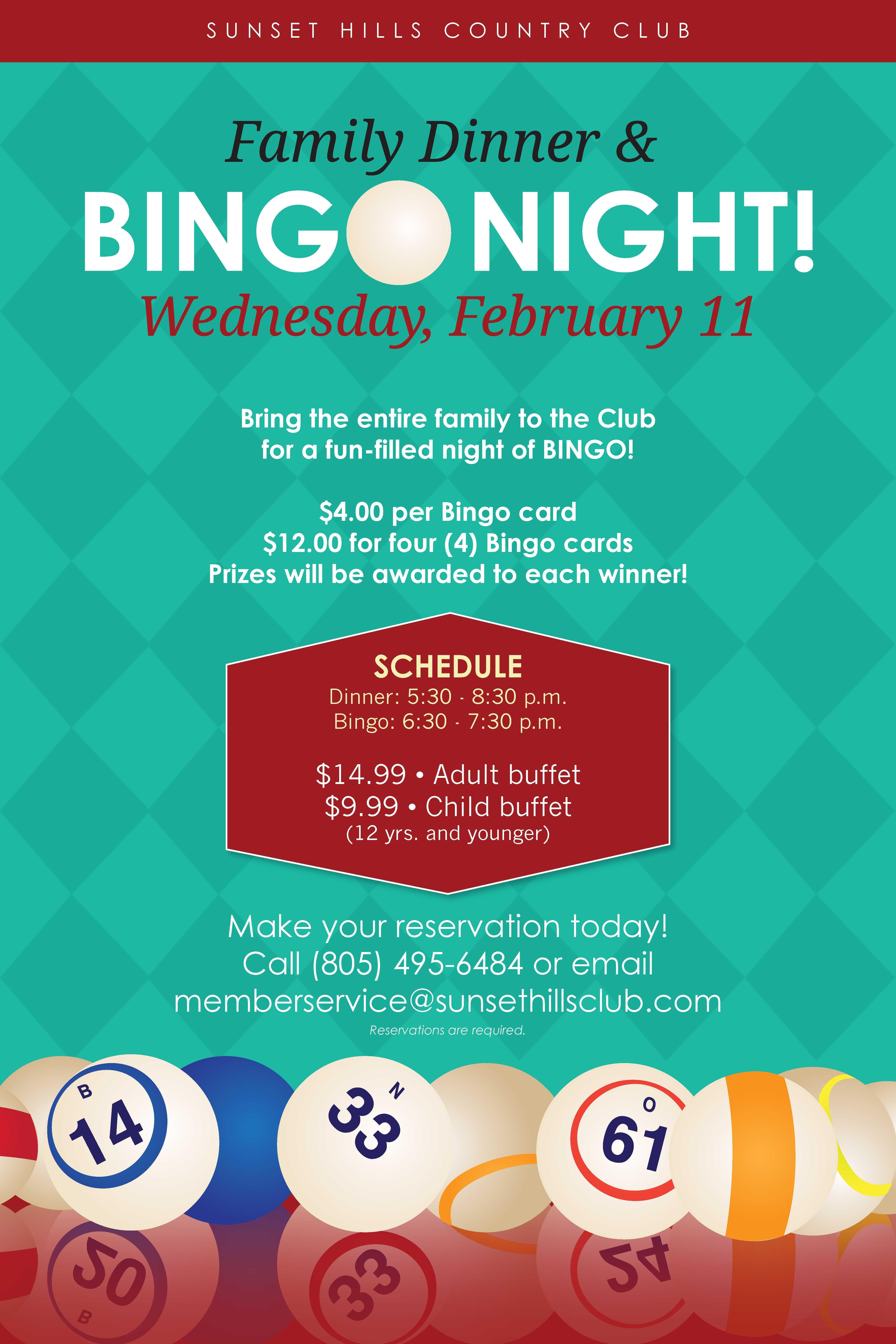 bingo night at sunset hills country club | kids in 2018 | pinterest