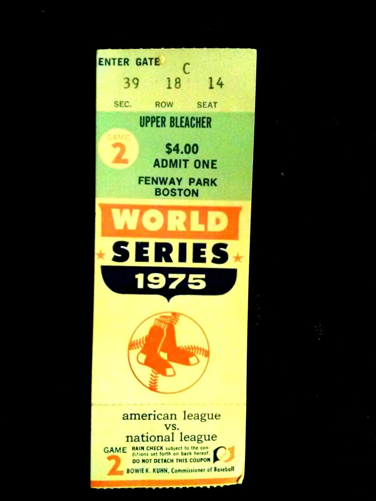 1975 World Series Ticket Game 2 Boston Red Sox vs Cincinnati Reds at ...
