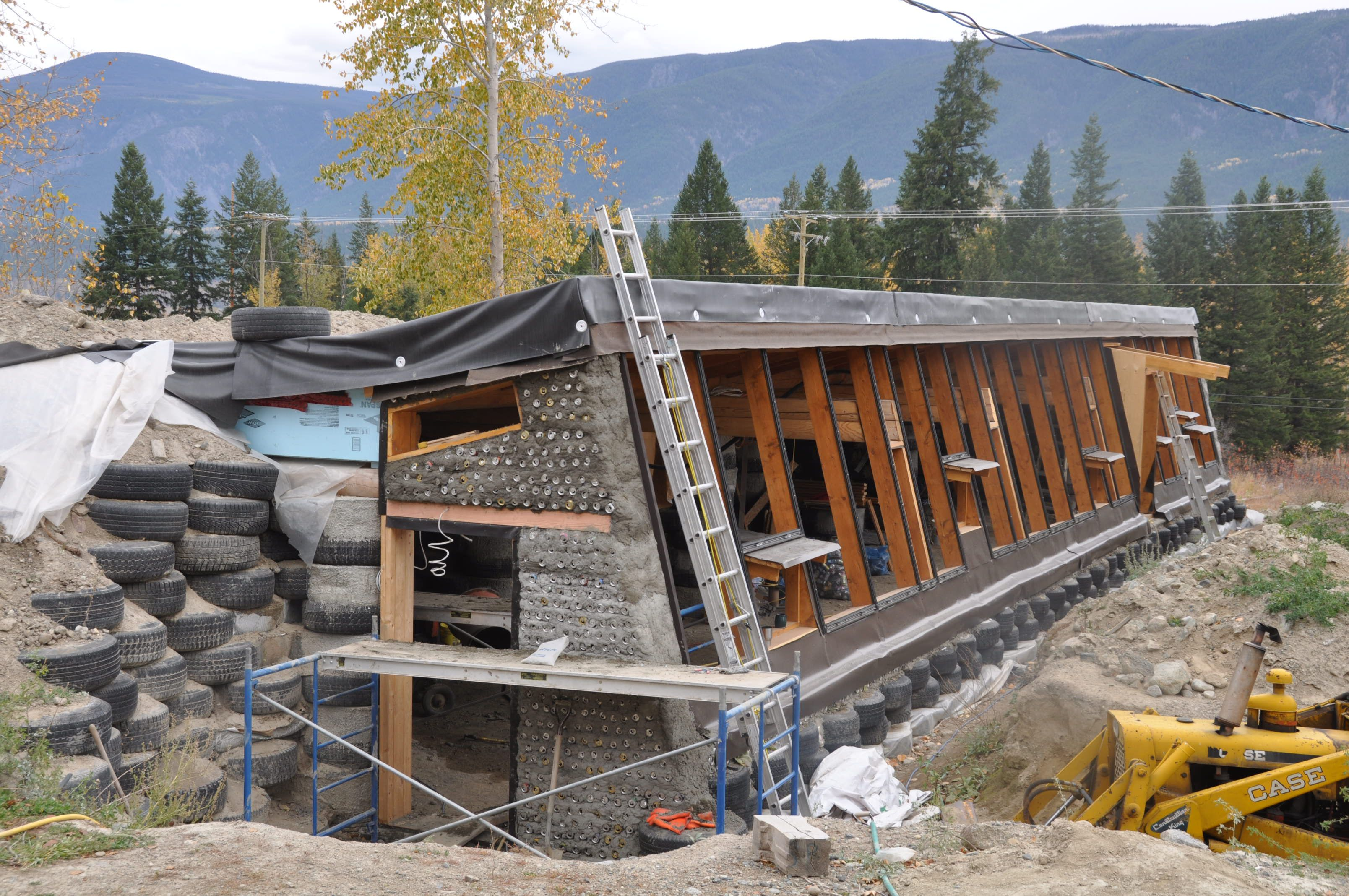 Earthship plans and designs pictures - Earthships On Friday We Finished The Last Of The Pop Can Concrete Work On
