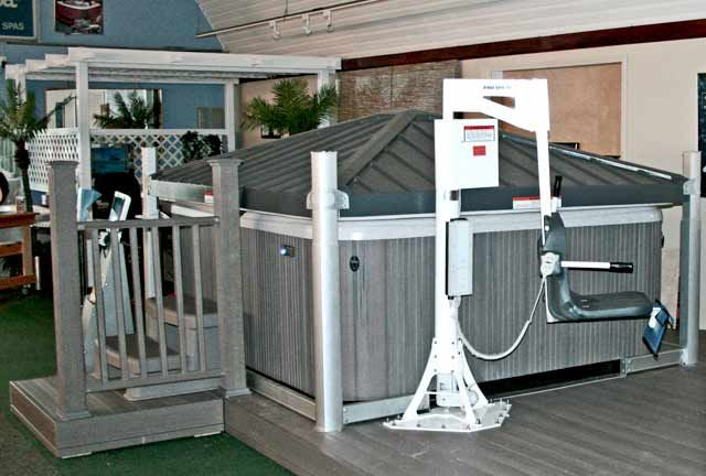 Handicapped Accessible Chair Lift swings over hot tub | wishes for ...