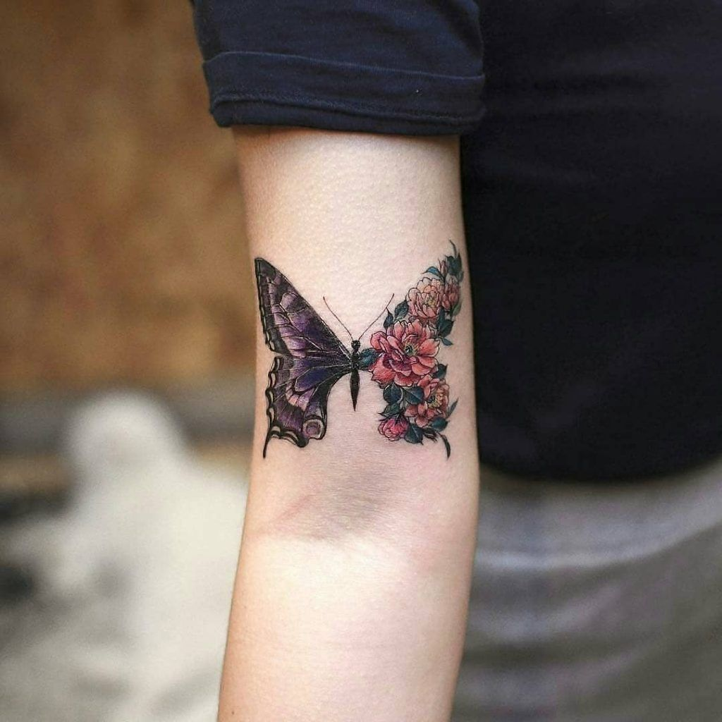 Photo of Half realistic half floral butterfly tattoo –   Half realistic half floral tatto…