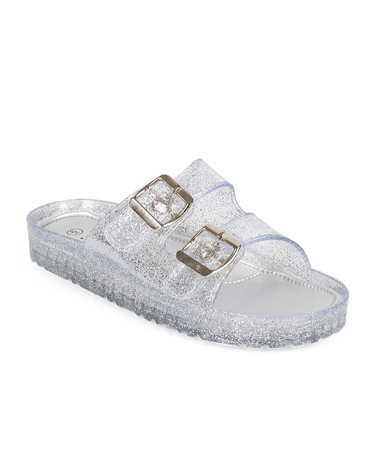 d5cea9c6a8d97 Forever EA81 Women Glitter Jelly Open Toe Double Buckle Footbed Sandal -  Silver   Wow! I love this. Check it out now!   Jelly Sandals