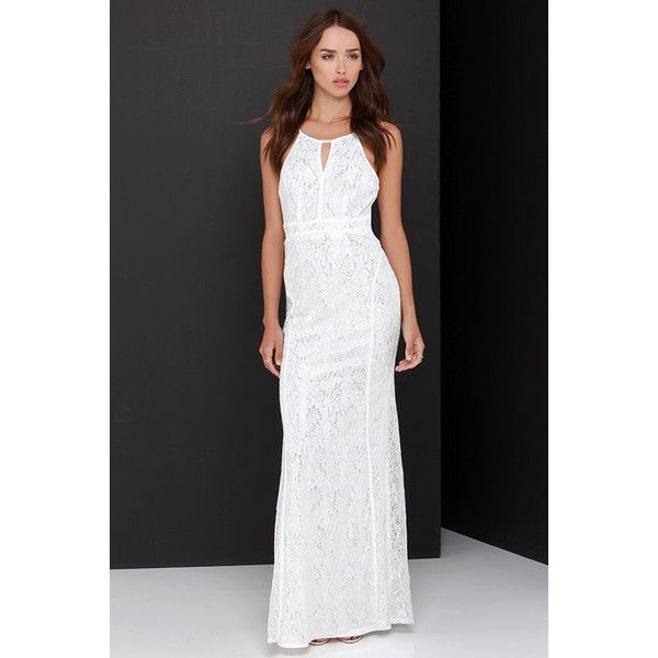 Shimmer and Shine Silver and Ivory Lace Maxi Dress ($49) ❤ liked on Polyvore