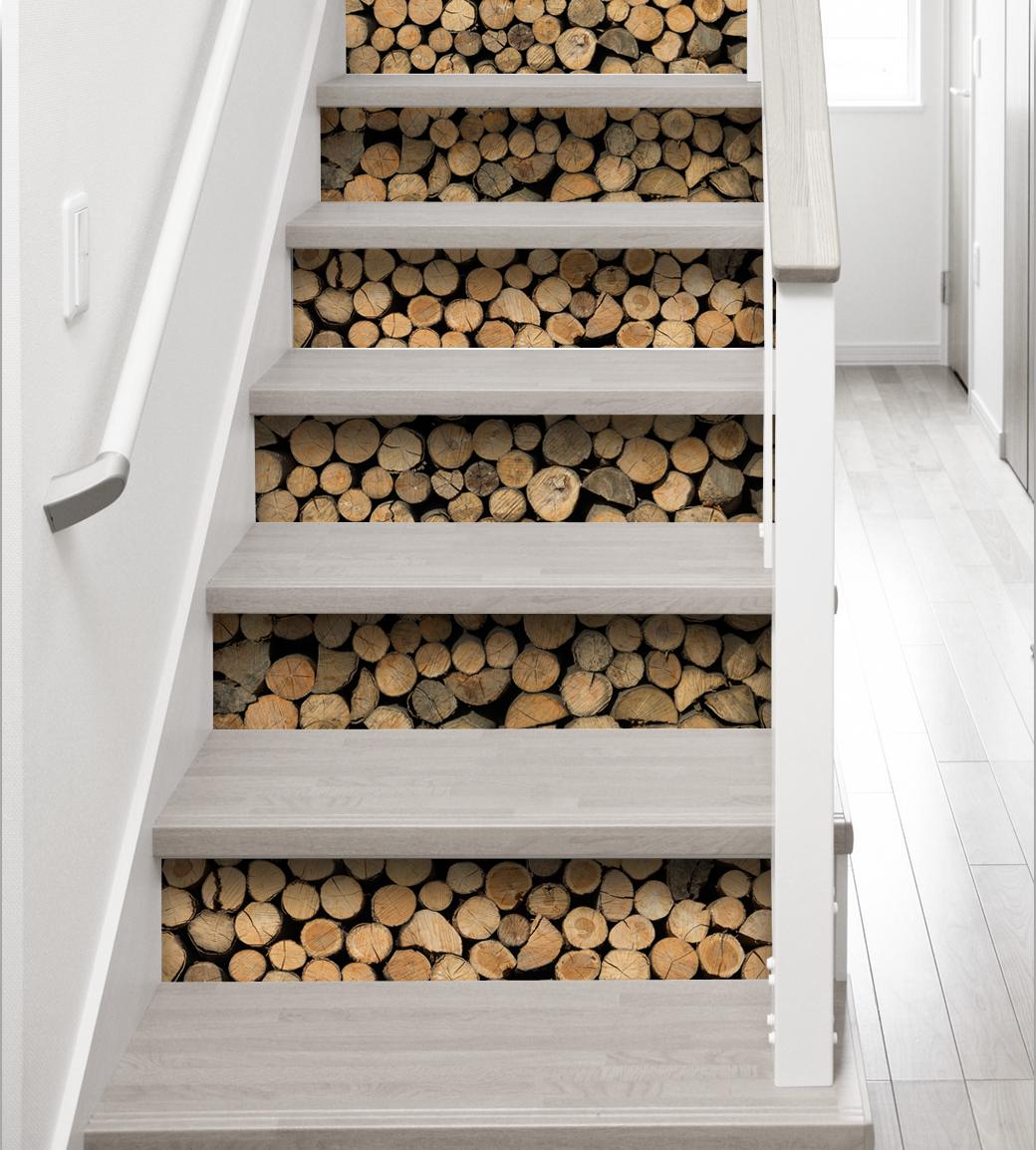contremarches adh sives rondins de bois contremarches bois en trompe l 39 oeil stickers. Black Bedroom Furniture Sets. Home Design Ideas