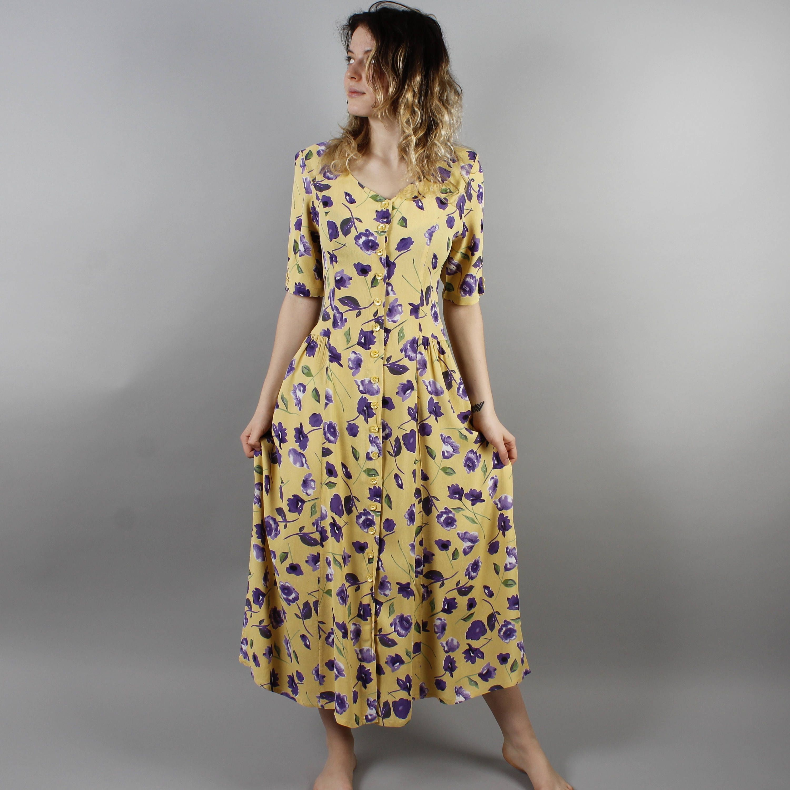 Gray Yellow Floral Casual Dresses