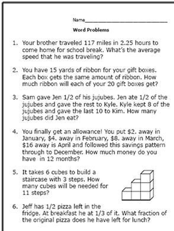 realistic math problems help thgraders solve reallife questions  here are some math word problems perfect for th graders worksheet