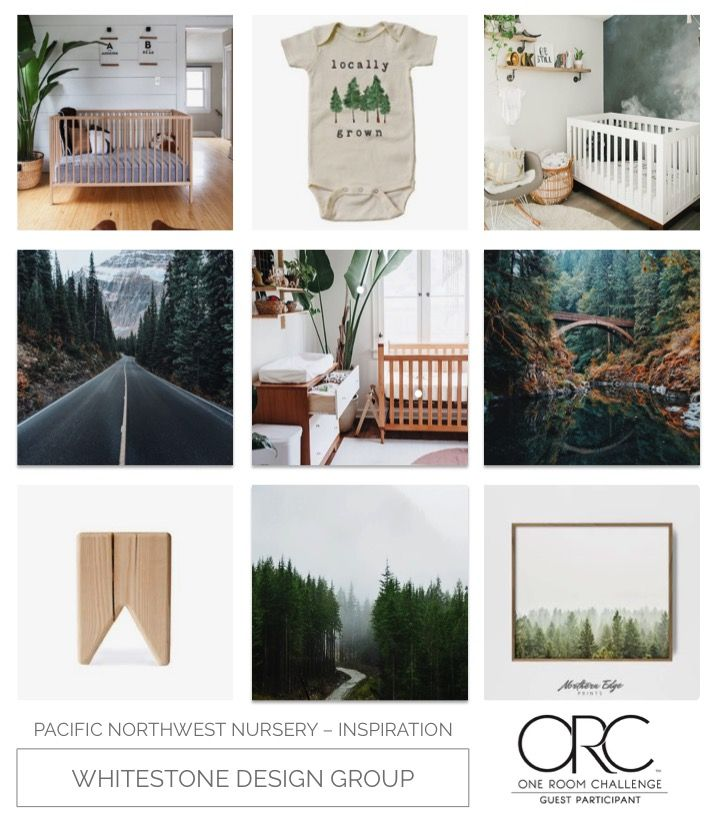 Whitestone Design Group Pacific Northwest Nursery One Room Challenge Inspiration Board