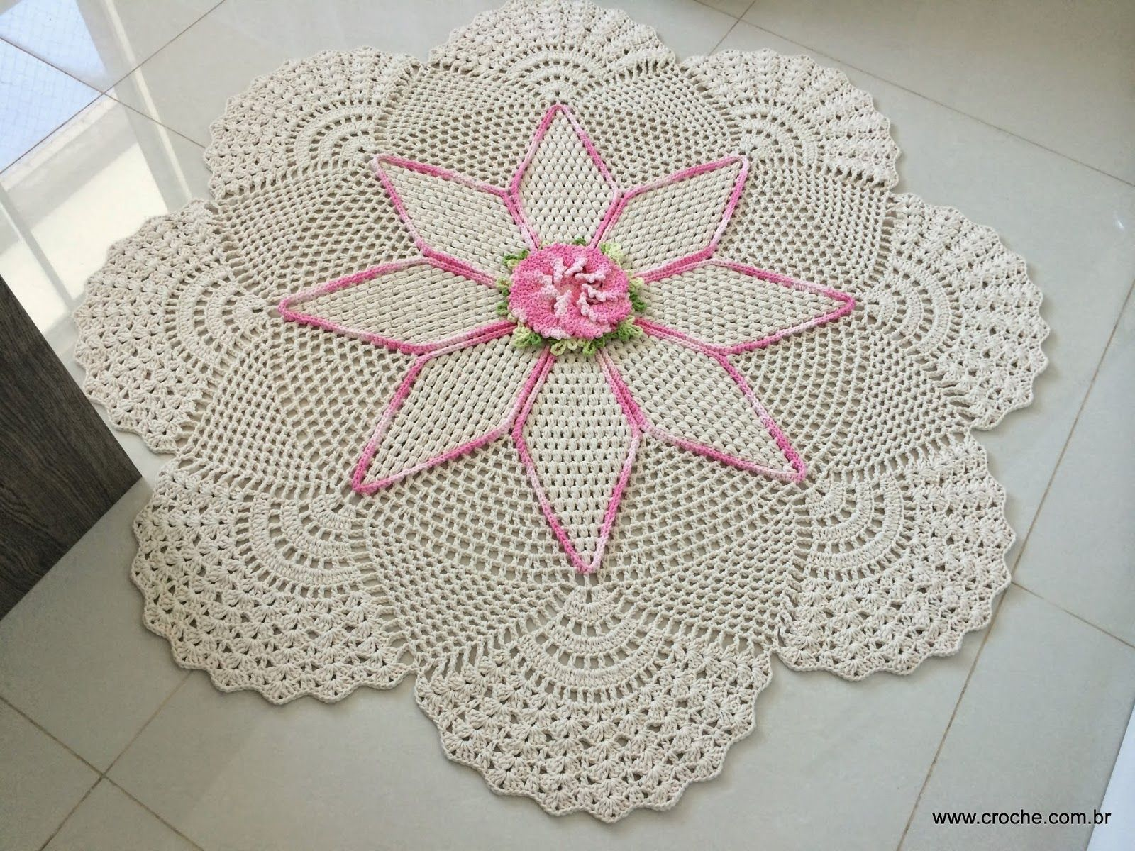 Tapete Redondo Flor Primavera Www Croche Com 4 Pinteres  -> Tapete Para Sala De Barbante Redondo