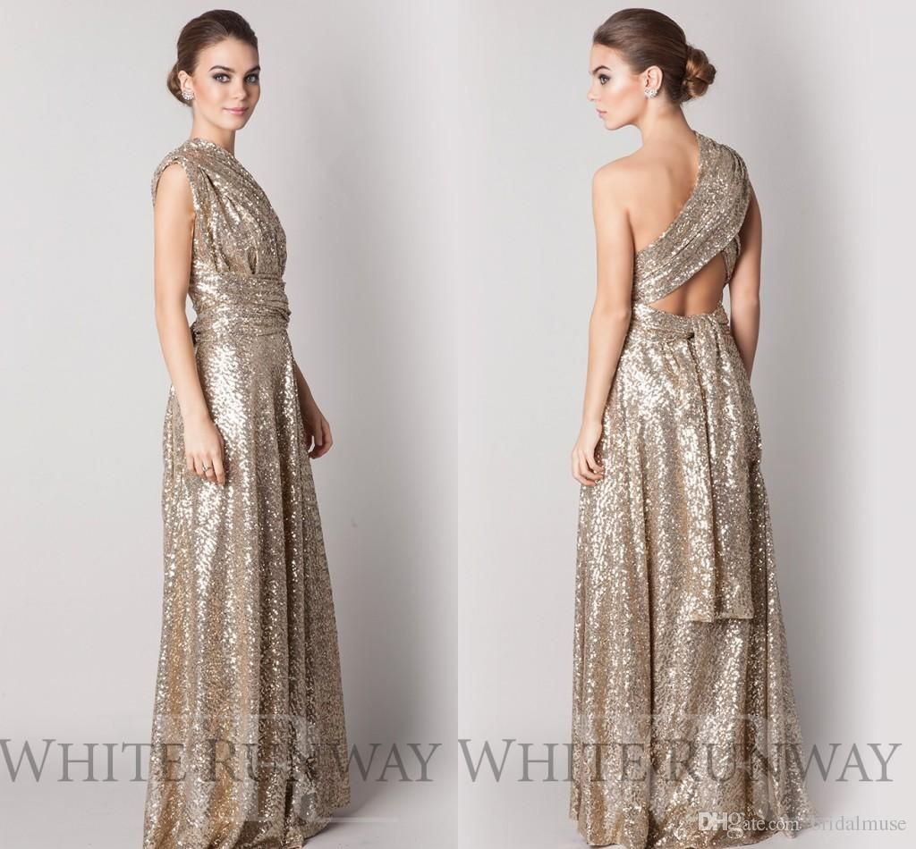 Convertible style gold sequins bridesmaid dresses long plus