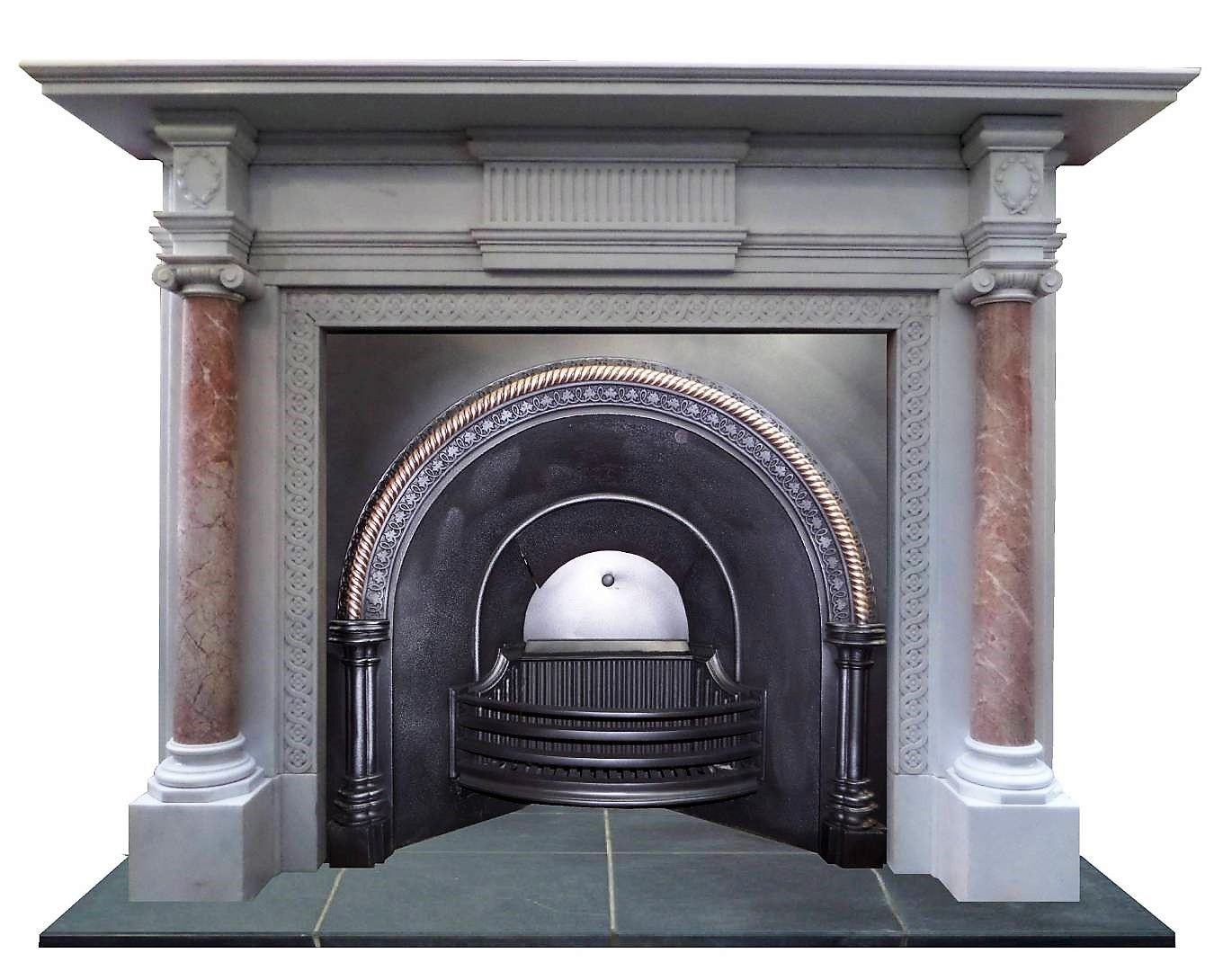 Peachy Antique Regency Victorian Cast Iron Brass Arched Fireplace Download Free Architecture Designs Pushbritishbridgeorg