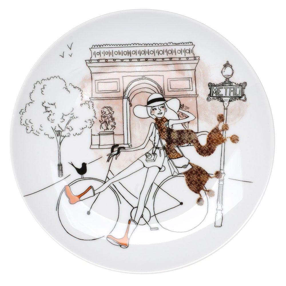Longue 6 Dessert Porcelaine ParisienneLa En Chaise Assiettes n8Pk0wO