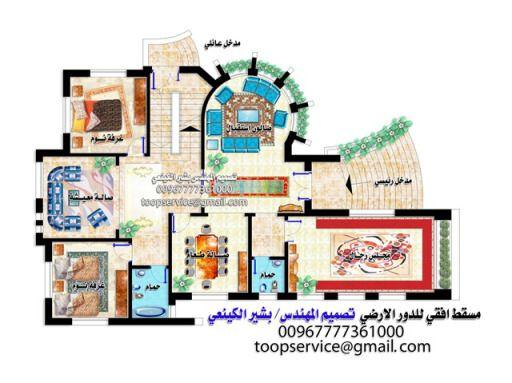 تصاميم هندسيه رائعة لمشروع فيلا في صنعاء بالماكس ثلاثية الابعاد تصميم المهندس بشير الكينعي Square House Plans House Layout Plans Simple House Plans