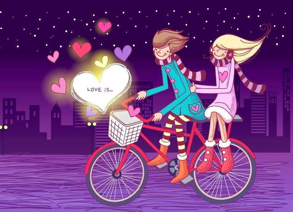 Couple On Bike Cartoon Cartoon Wallpaper Niedliche Hintergrundbilder Anime Tapete