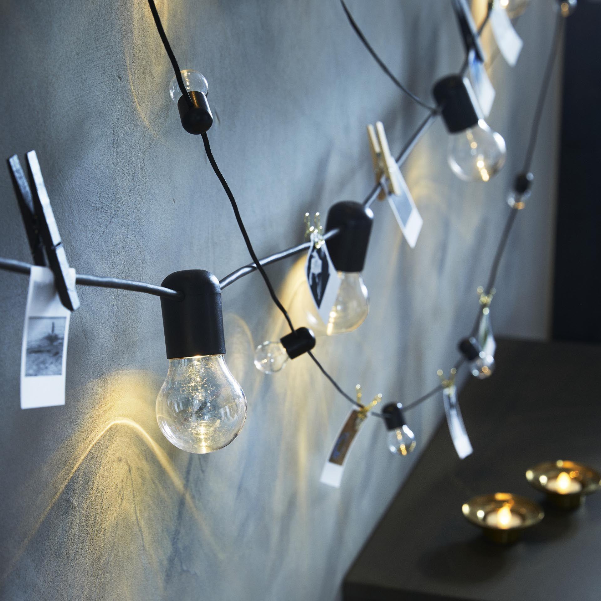 BlÖtsnÖ Led Lichtsnoer Met 24 Lampjes Binnen Zwart Ikea Lichtslingers Slaapkamer Diy Decoratie Slaapkamer Tiener Slaapkamer Meisjes