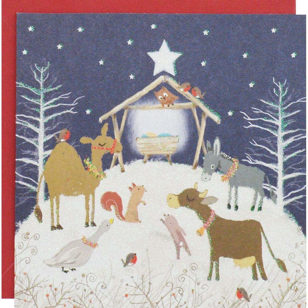 Buy Glitter Nativity Scene Luxury Christmas Cards - Pack Of 8 online ...