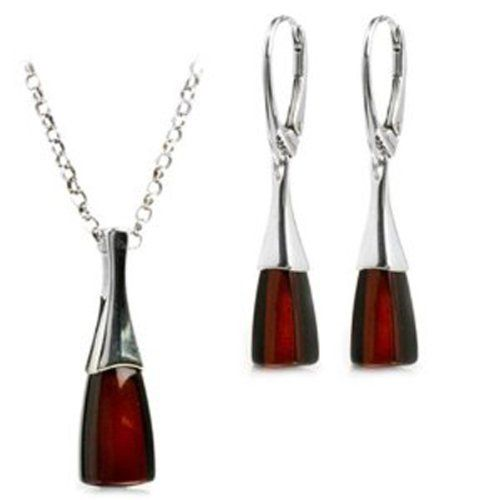 Cherry Amber Sterling Silver Earrings Pendant Necklace Set Chain 46 cm IsMFXH