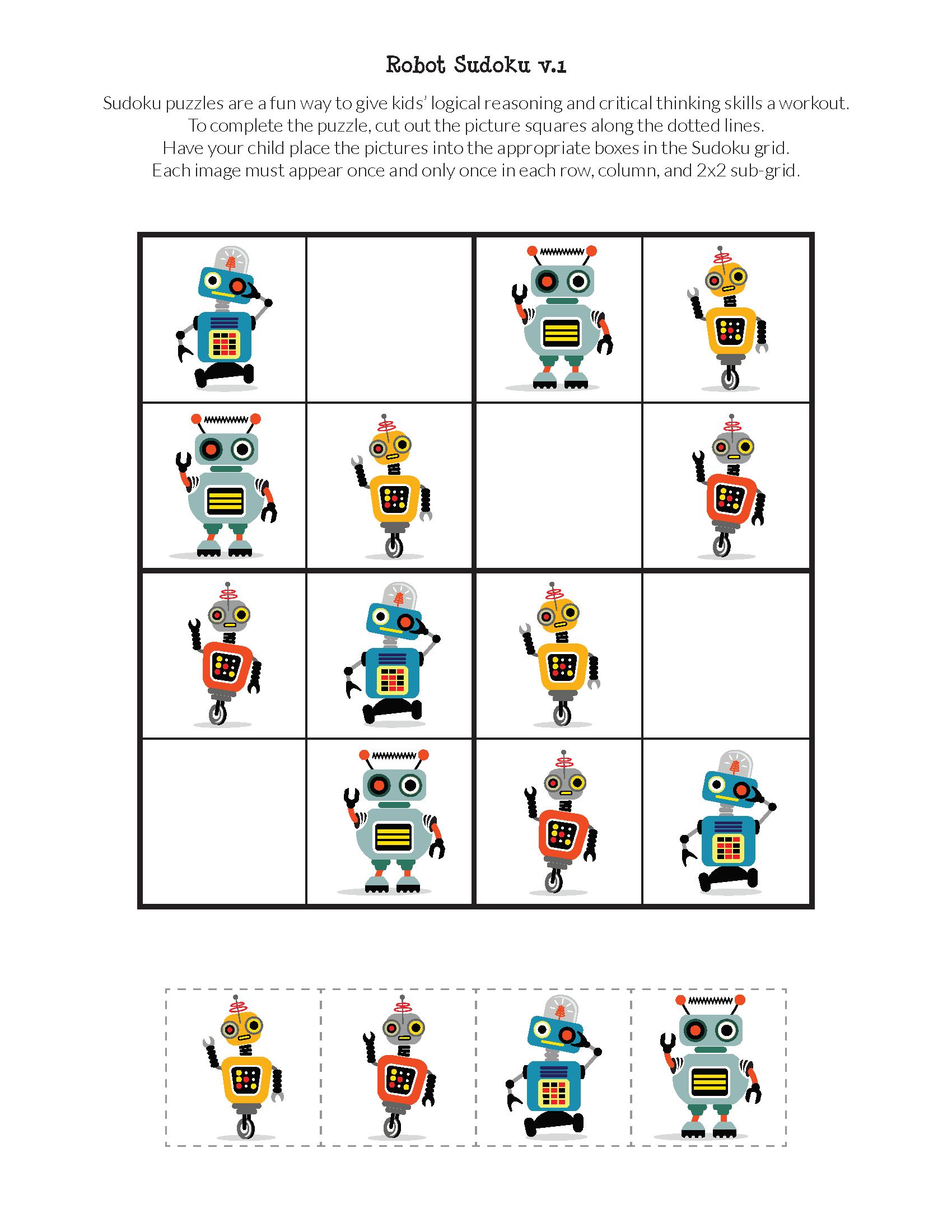Robot Sudoku Puzzles Free Printables Met Afbeeldingen