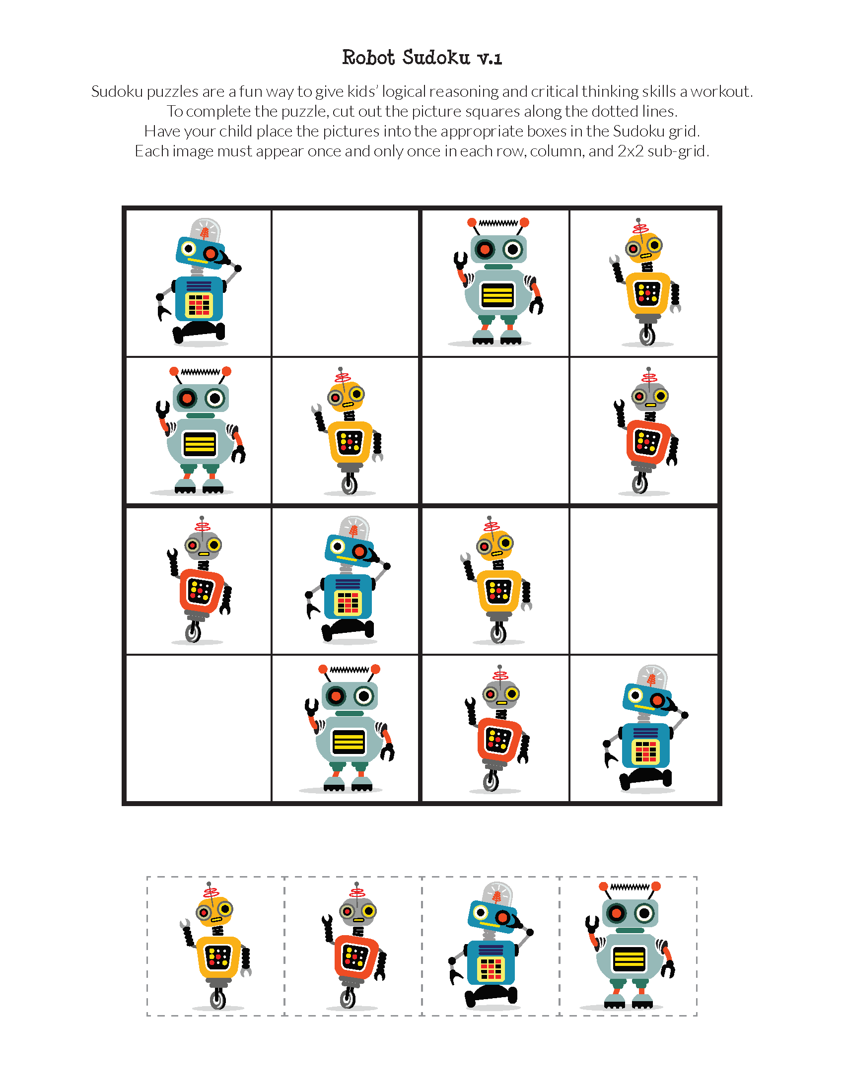 Robot Sudoku Puzzles Free Printables Sudoku Puzzles Sudoku Robot [ 2200 x 1700 Pixel ]