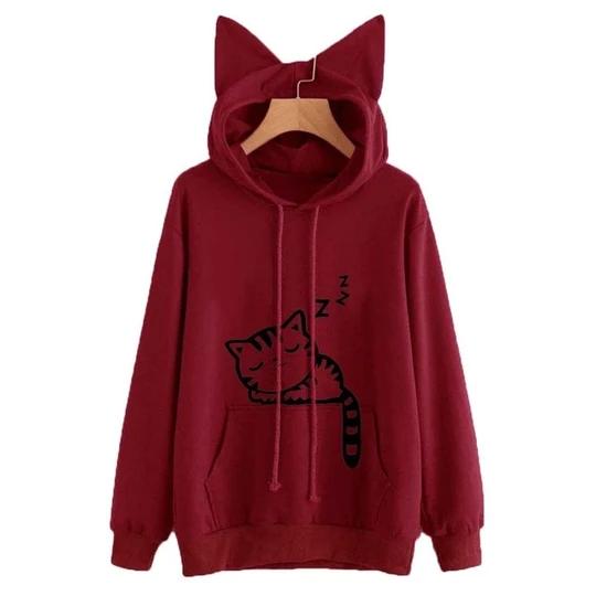 Women Sweatshirts Cute Cat Print Cat Ear Kawaii Hoodies Casual Long Sleeve Pullovers Cat Lovers Ho