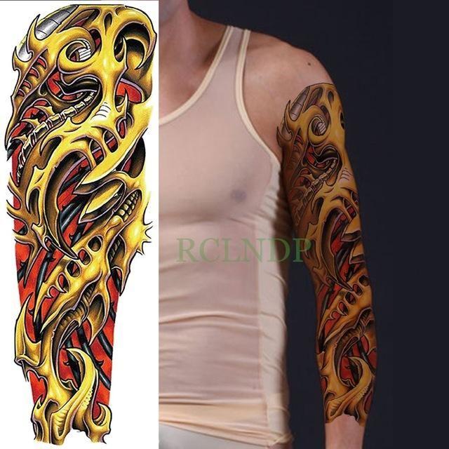 0d9d012c7 Waterproof Temporary Tattoo Sticker full arm large size robot arm tatto  flash tatoo fake tattoos sleeve