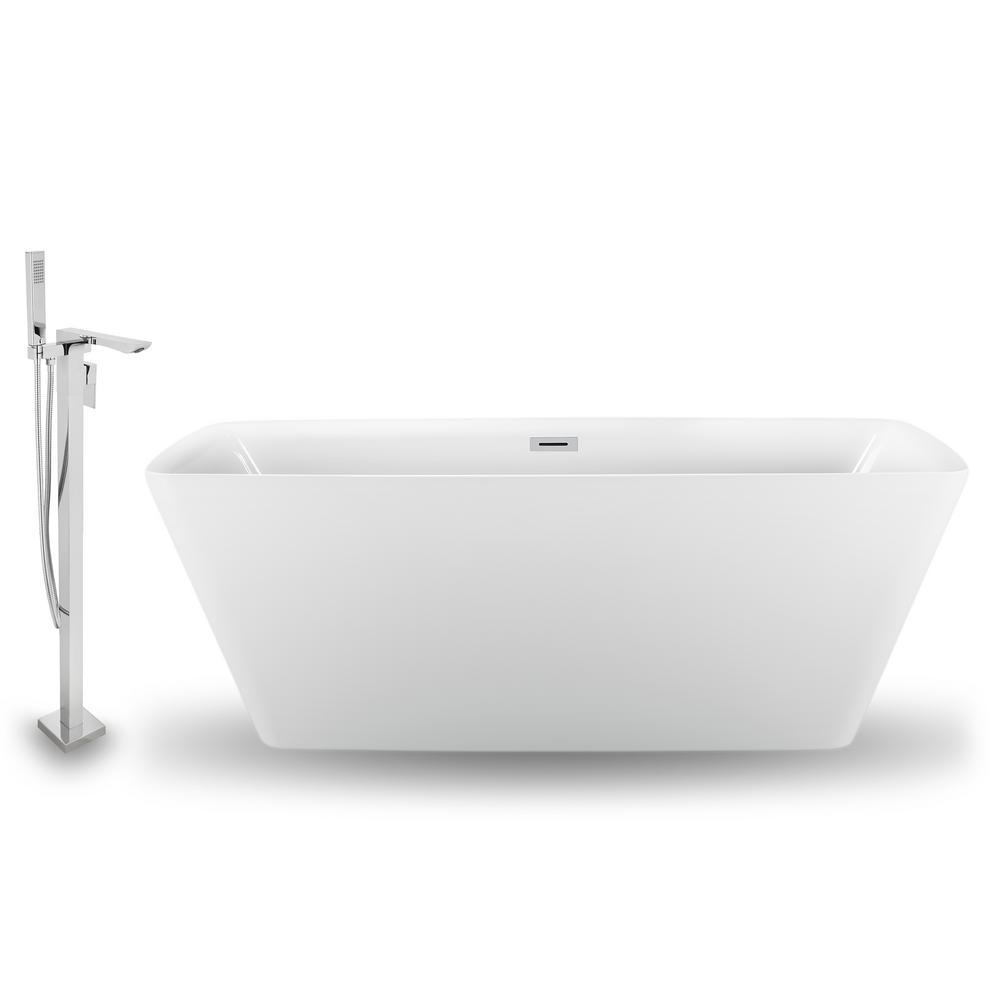 Streamline Tub Faucet And Tray Set 59 In Acrylic Flatbottom Non Whirlpool Bathtub In Glossy White Deep Soaking Tub Glossy White Whirlpool Bathtub