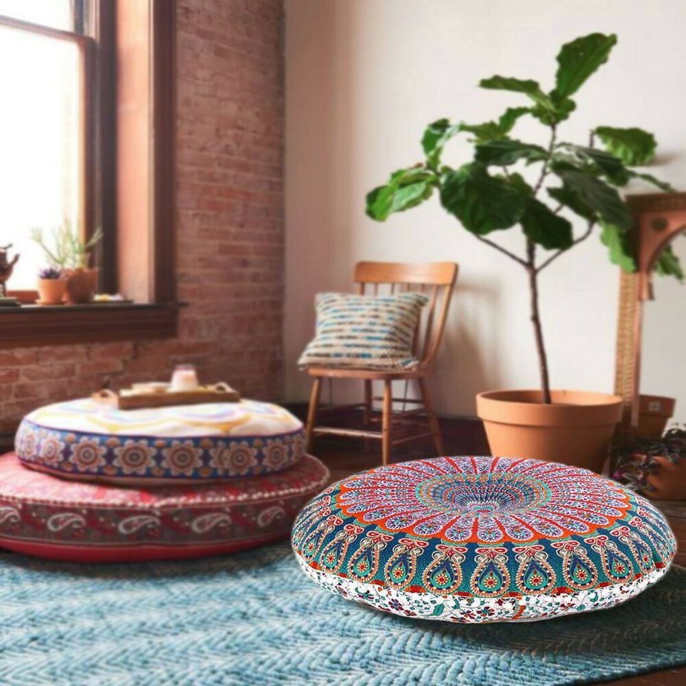 Indian Cushion Cover Floor Pillow Pillow Cover Bohemian Room Decor Footstool Decor Pillowcover Large Floor Pillows Meditation Room Meditation Rooms