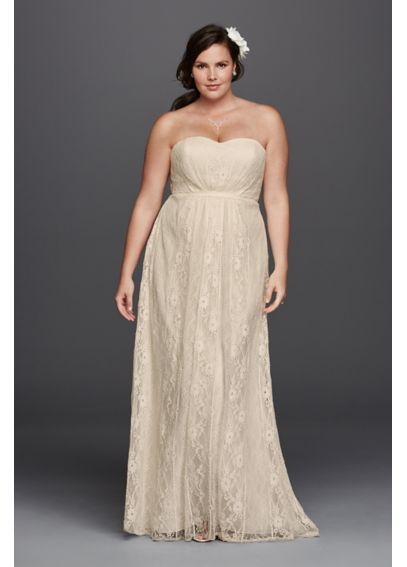 Linear Lace Plus Size Wedding Dress with Ribbon 9WG3782. Just not ...