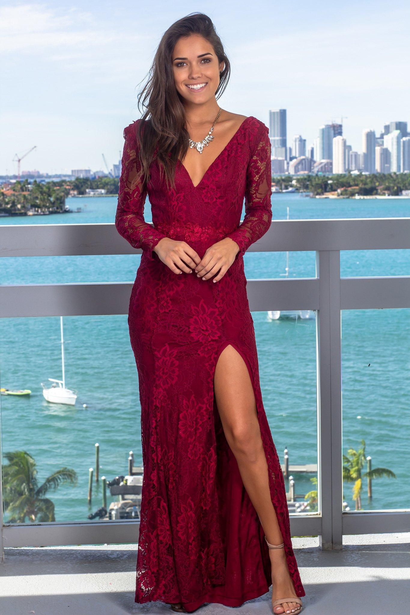 Burgundy Lace Maxi Dress With Strappy Back Burgundy Short Dress Long Sleeve Bridesmaid Dress Maxi Dress [ 2047 x 1365 Pixel ]