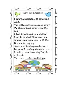 thank you to students poem classroom stuff pinterest hand