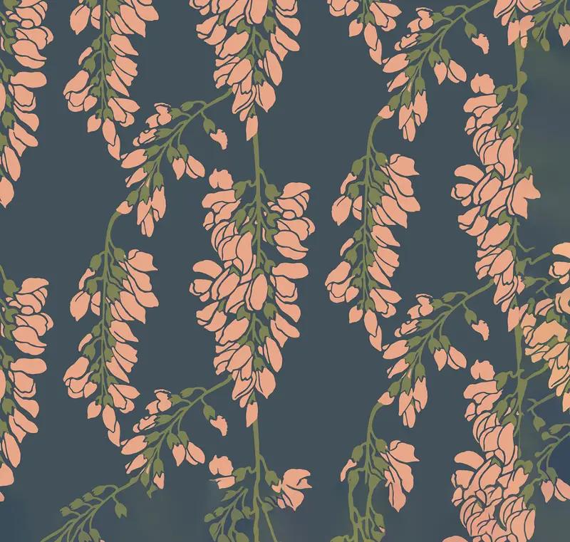 Heart Breaker Mitchell Black Wallpaper and Textiles