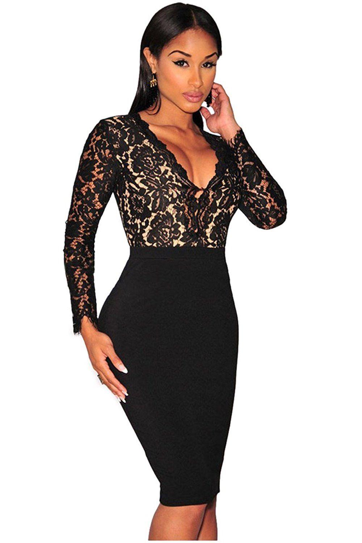 Kearia women sexy deep vneck bodycon long sleeves mini lace dress