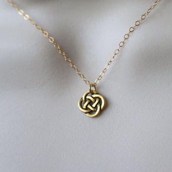 Tiny gold celtic knot necklace celtic necklace celtic knot jewelry ireland jewelry aloadofball Image collections